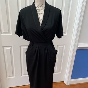 ASOS Black V Neck Collar Dress with Pockets NWT